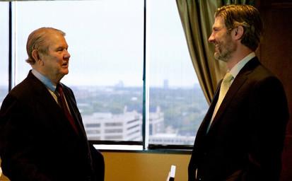 (FROM LEFT) GOODMAN INSTITUTE BOARD MEMBERS JOHN RIDINGS LEE AND SHANE JACKSON AT THE GOODMAN INSTITUTE BOARD MEETING.