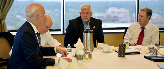 (FROM LEFT) GOODMAN INSTITUTE BOARD MEMBERS J. COLEY CLARK, BOARD CHAIRMAN LEIGH S. CURRY, CONGRESSMAN PETE SESSIONS, GOODMAN INSTITUTE PRESIDENT JOHN GOODMAN AT THE GOODMAN INSTITUTE FALL BOARD MEETING.