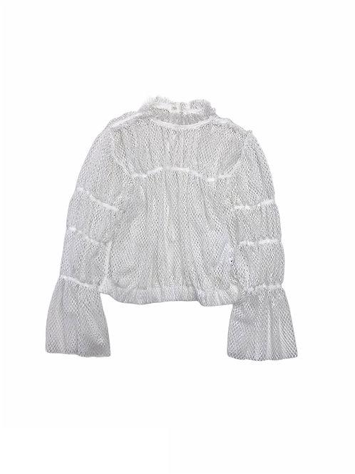 mesh shoulder blouse ( white )