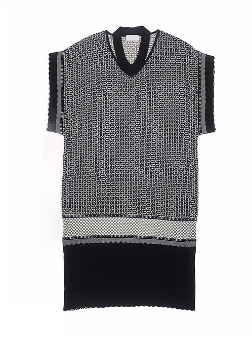 oriental pattern jacquard knit one-piece ( black )