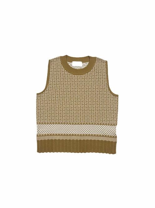 oriental pattern jacquard knit tank ( ginger )