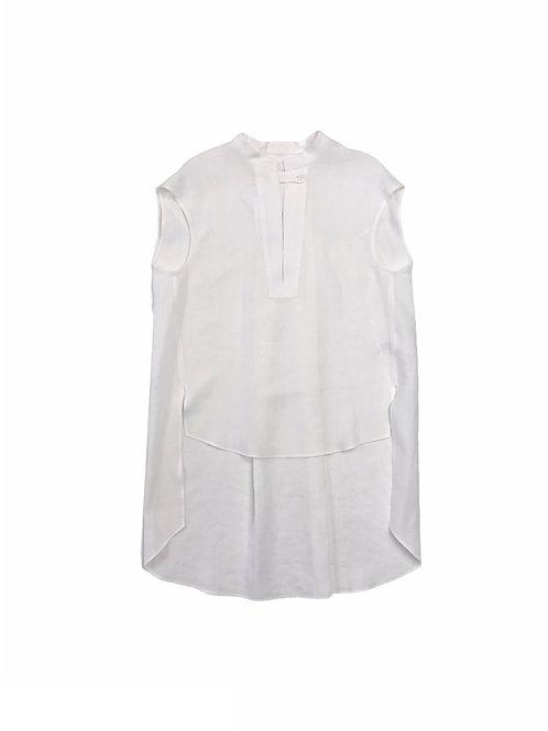 linen french sleeve shirt ( white )