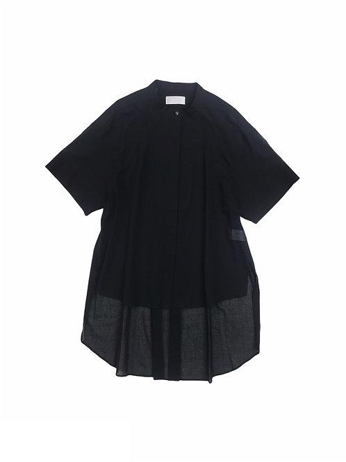 sheer antique yoke dress shirt ( black )