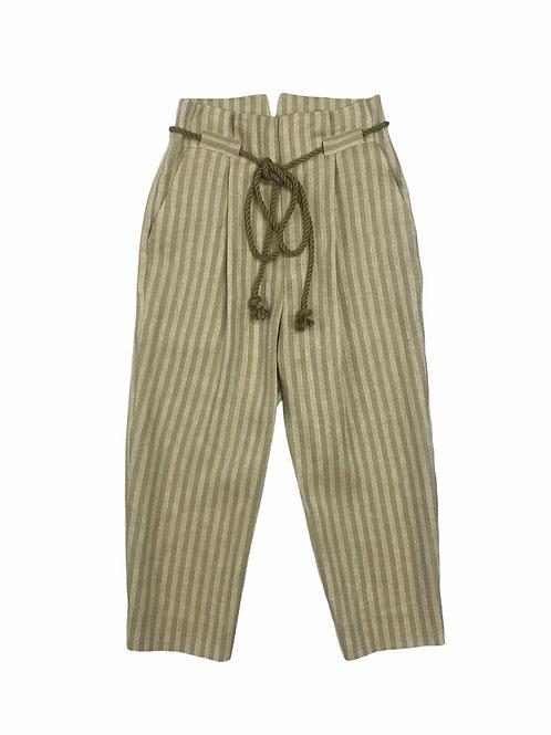 herringbone stripe tuck pants ( yellow khaki )