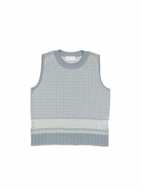 oriental pattern jacquard knit tank ( old blue )