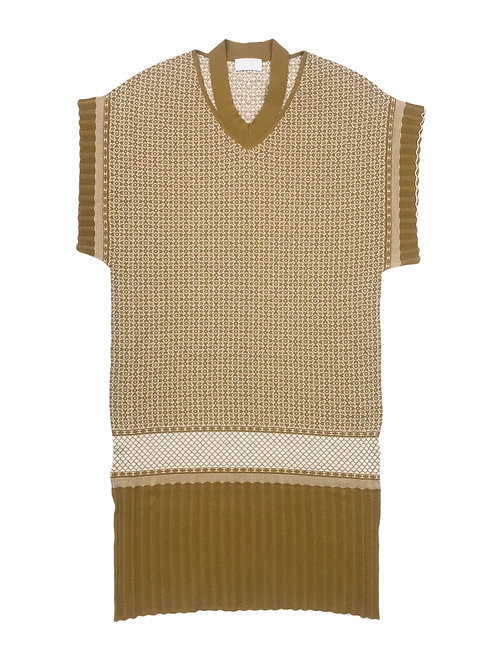 oriental pattern jacquard knit one-piece ( ginger )
