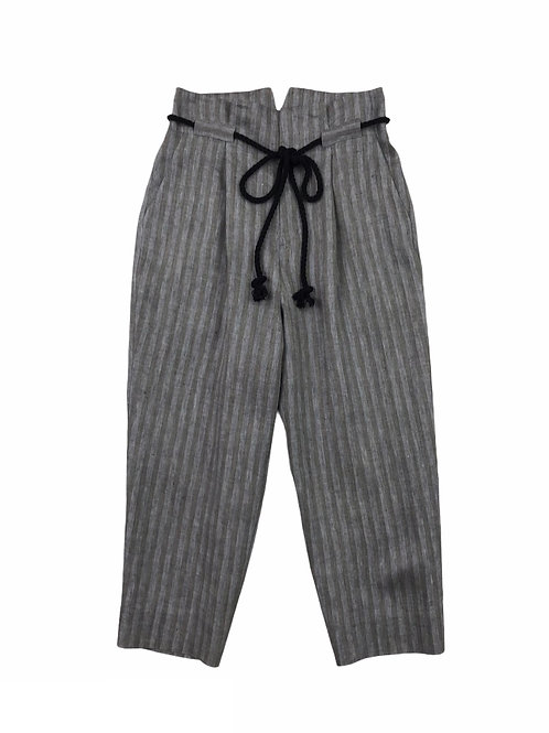 herringbone stripe tuck pants ( black )