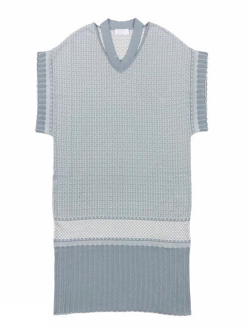 oriental pattern jacquard knit one-piece ( old blue )