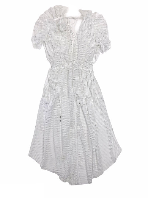 mesh shoulder gather frill dress ( white )