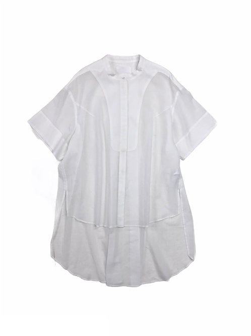 sheer antique yoke dress shirt ( white )
