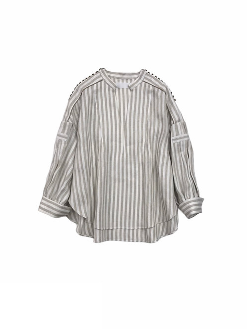 herringbone stripe kaftan shirt ( white )