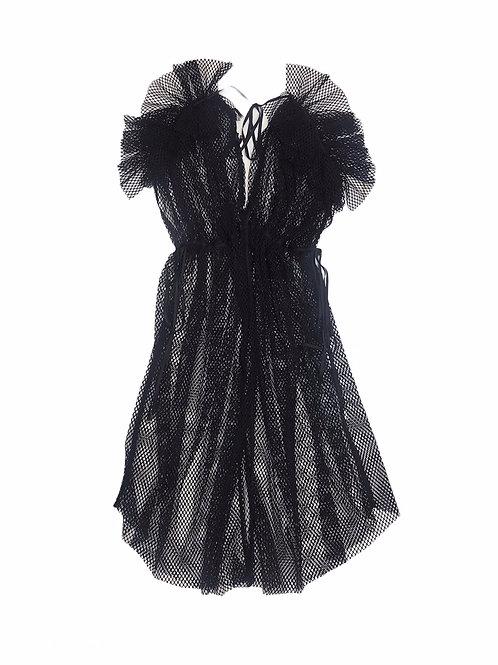 mesh shoulder gather frill dress ( black )