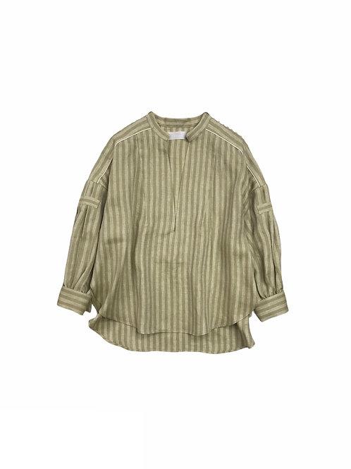 herringbone stripe kaftan shirt ( yellow khaki )