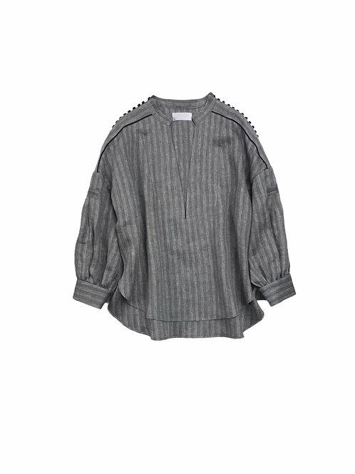 herringbone stripe kaftan shirt ( black )