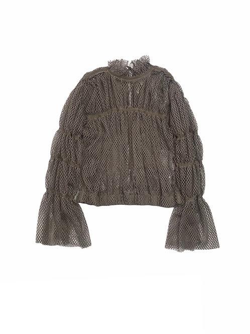 mesh shoulder blouse ( beige )