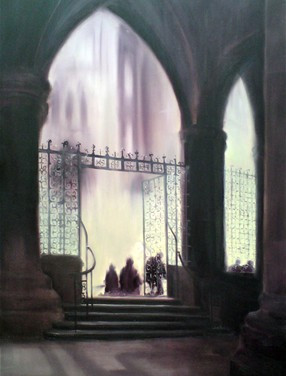 the pillars and me - oil on canvas - art