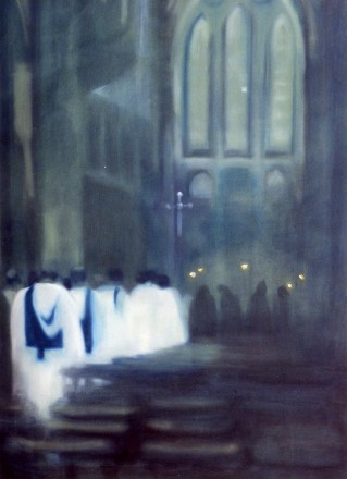 blue procession - oil on canvas- sold to