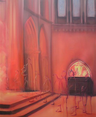 watching wall - oil on canvas