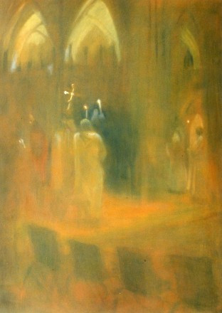 candlelight procession - oil on canvas -