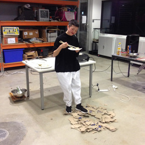 Performance. Ode to Doctored Dumplings. Fake News From The Art and Politics Bureau: A One Day Event, UNSW Art & Design. Photo by Kynan Tan.