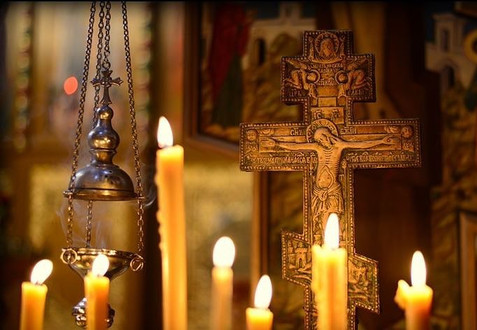 Crucifix with candles