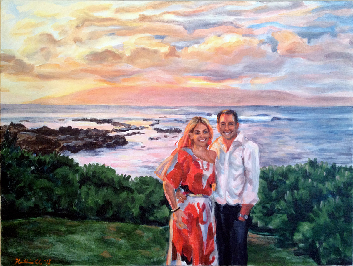 "Honeymoon Portrait from one photo, 18"" x 24"""