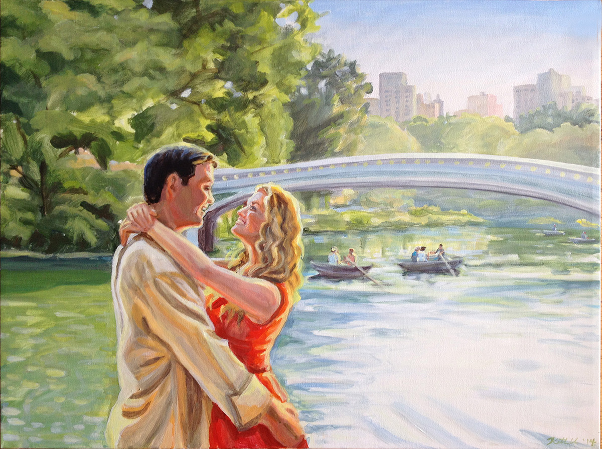 "Central park engagement from one photo, 12"" x 16"""