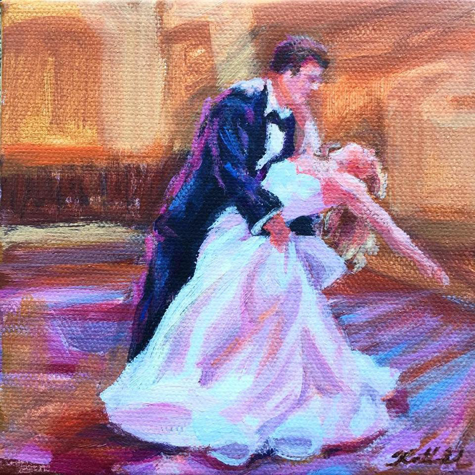 "First dance mini painting, 5"" x 5"""