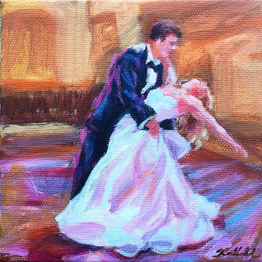 "First dance mini painting, 5"" x 5"""