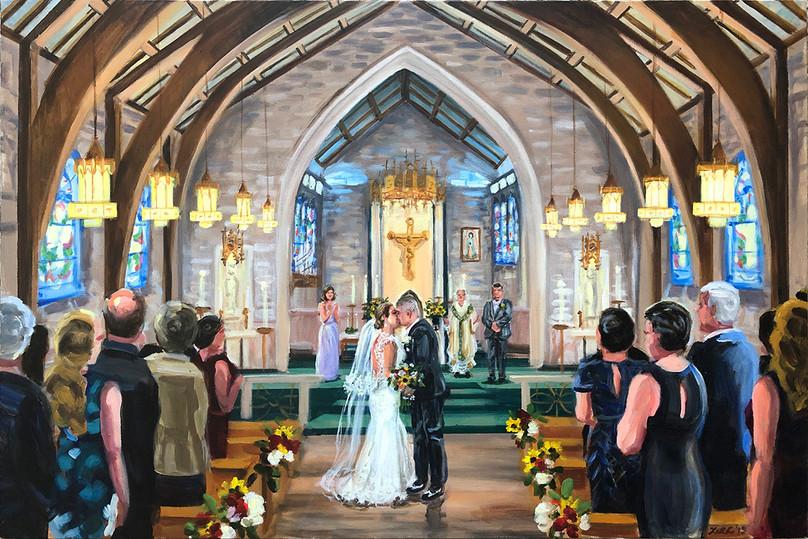 """Church ceremony, 24"""" x 36,"""" based on multiple photos"""