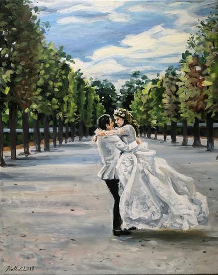"""Wedding portrait from one photo, 16"""" x 20"""""""