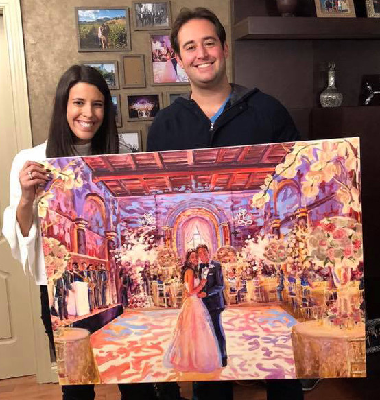 """Portrait of the couple at Cipriani, NYC, 30"""" x 40,"""" based on multiple photos"""
