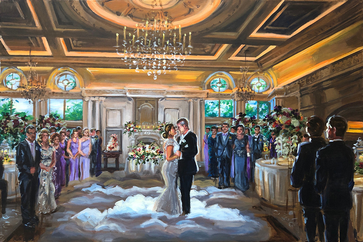 """First dance at the Park Chateau, NJ, 24"""" x 36,"""" based on multiple photos"""