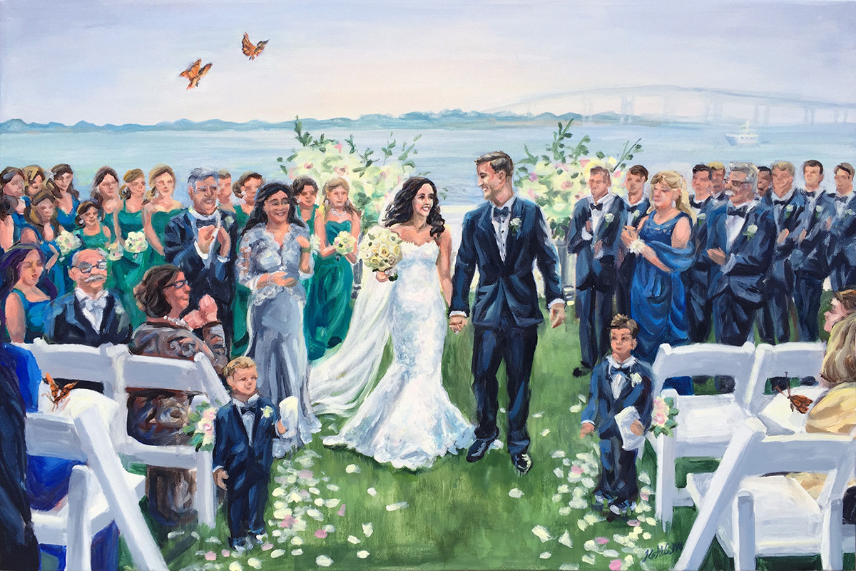 "Wedding ceremony at Belle Mer, Newport, RI, 24"" x 36,"" based on multiple photos"