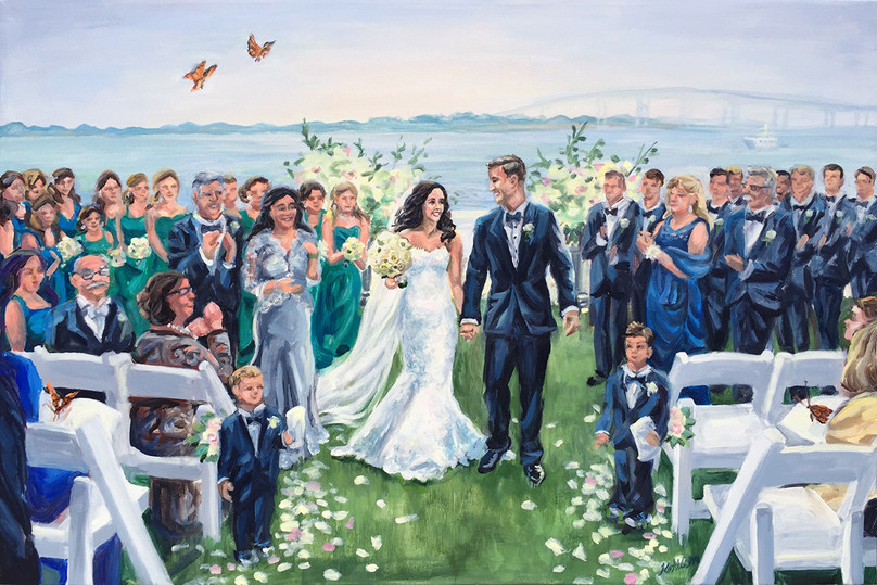 "Wedding ceremony at Belle Mer, Newport, RI, 24"" x 36,"" based on multiple photos"