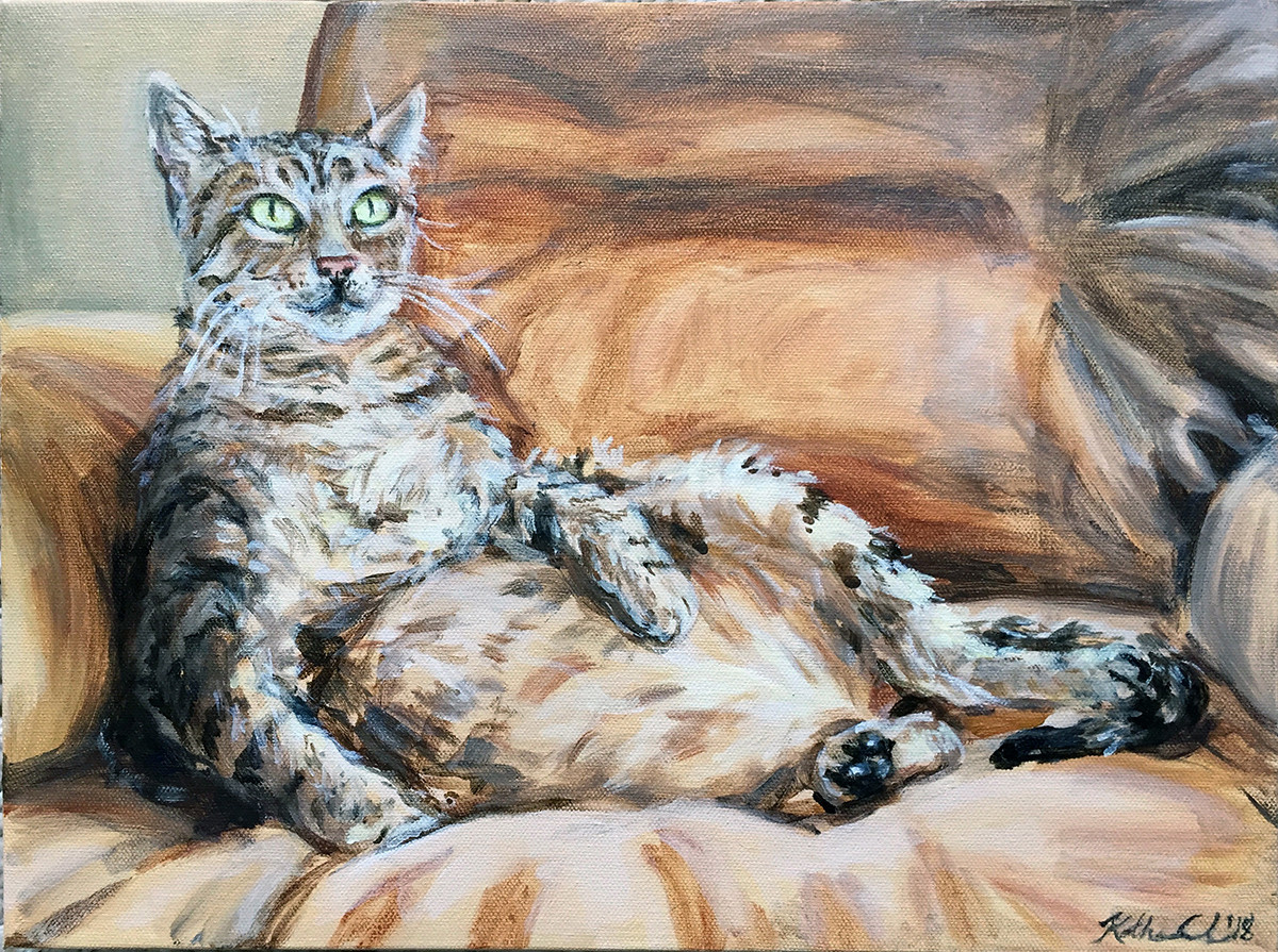 "Cat portrait, 12"" x 16"""