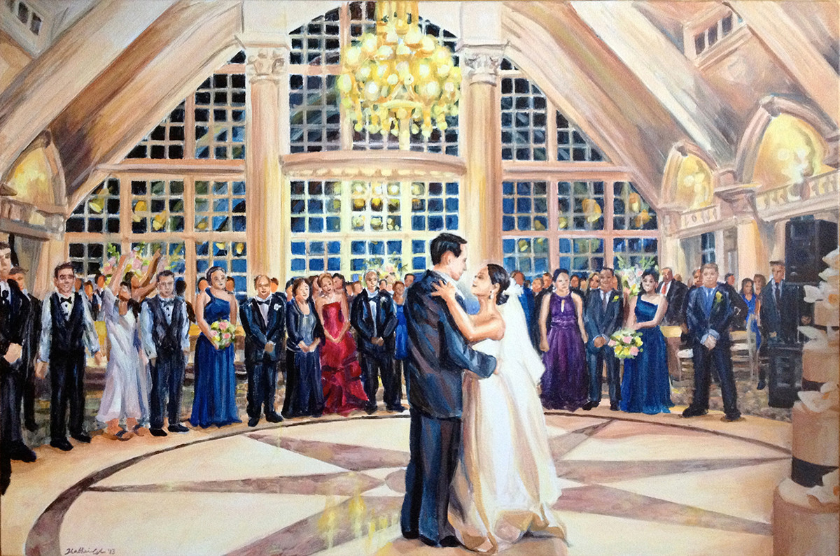 """First dance at the Ashford Estate, NJ, 24"""" x 36,"""" based on multiple photos"""