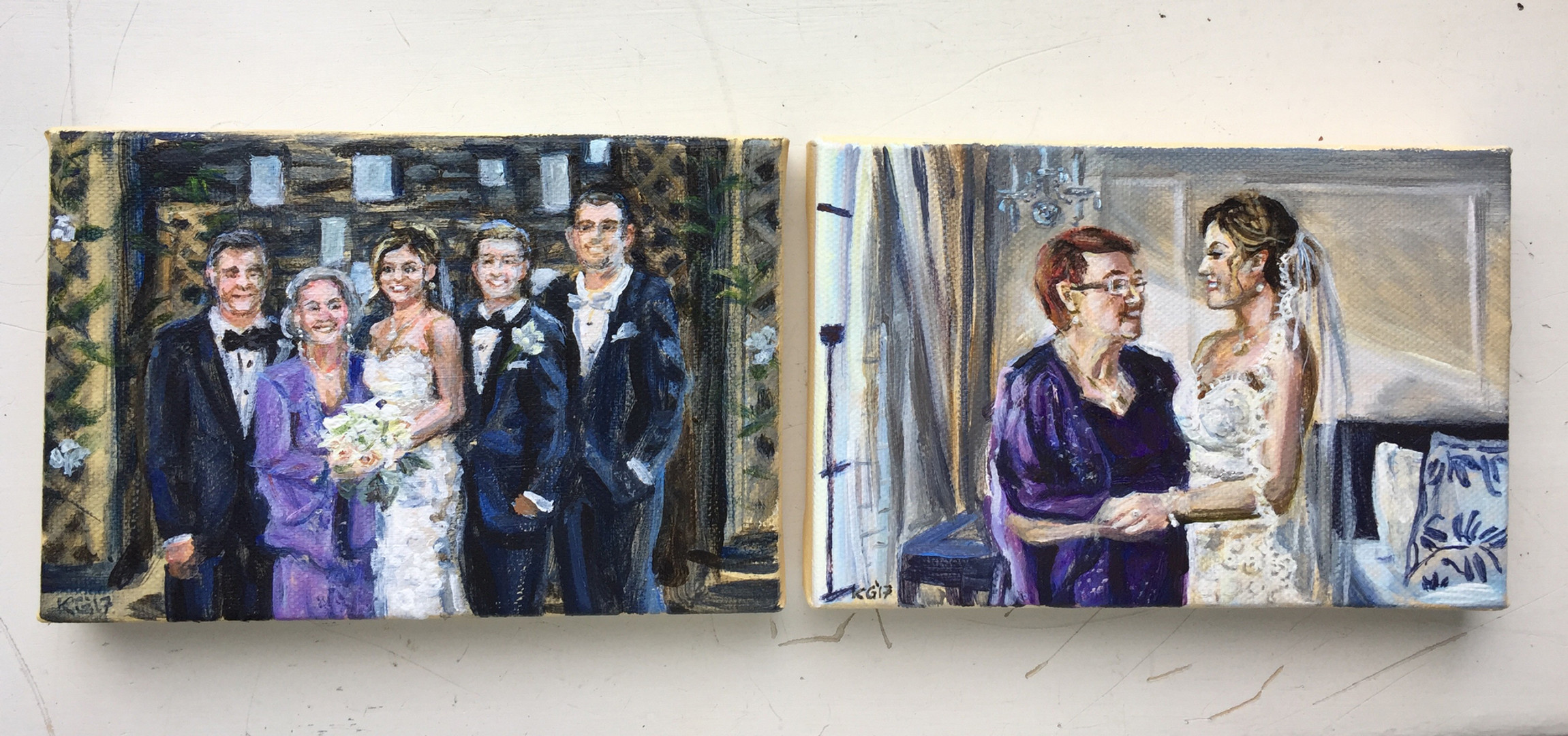 "Mini wedding portraits, each 5"" x 7"""