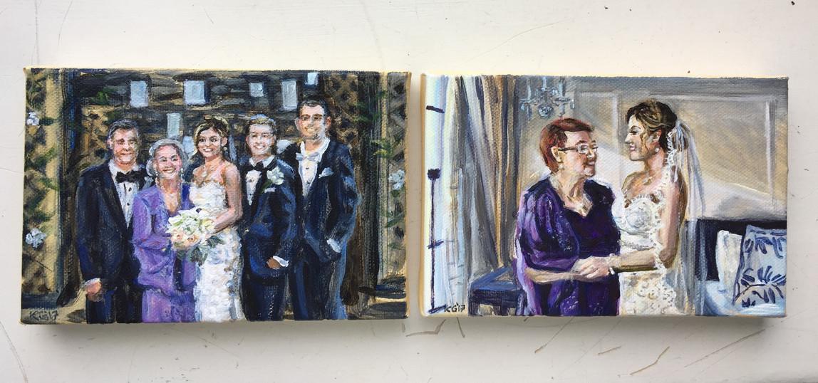 "Mini wedding portraits, each 5"" x 7"""