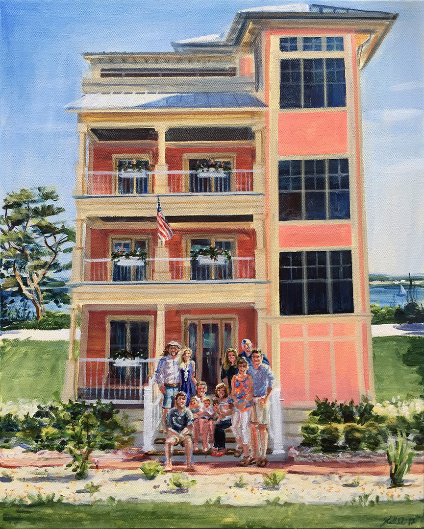 "Vacation home with family portrait based on combining two photos, 16"" x 20"""