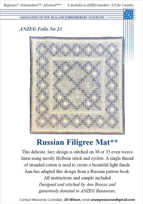 ANZEG Folios23: Russian filigree mat