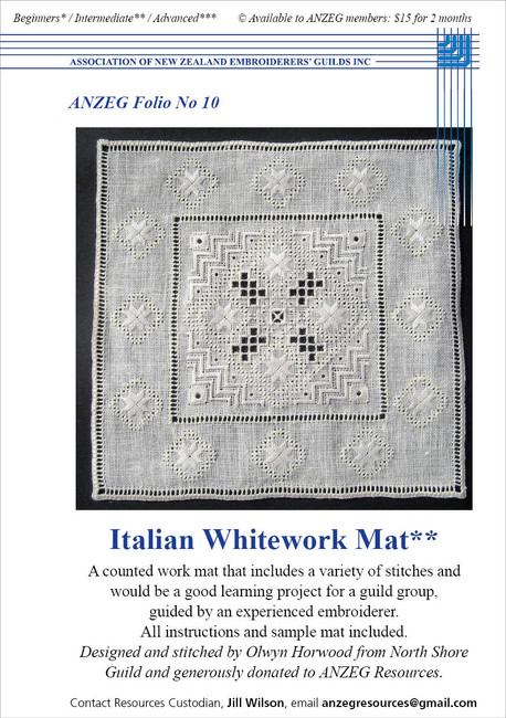 ANZEG Folios10: Italian whitework mat