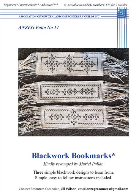 ANZEG Folios14: Blackwork bookmarks