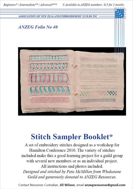 ANZEG Folios40: Stitch sampler booklet