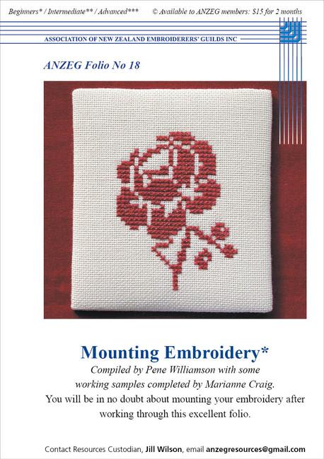 ANZEG Folios18: How to mount embroidery