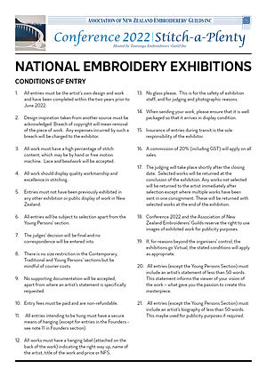 Stitch A Plenty Conference 2022 National Embroidery Exhibition Conditions of Entry
