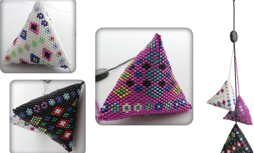 ©THREE BEADED TRIANGLES – HANGING OUT TOGETHER by Peta McMillan, Bay of Plenty.