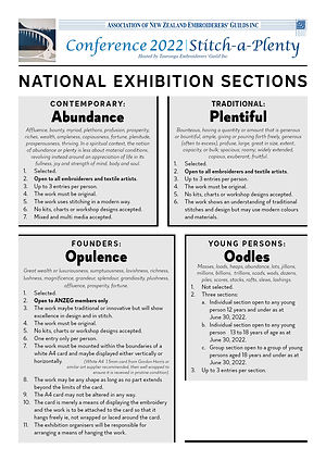 Stitch A Plenty Conference 2022 National Exhibition rules for each section