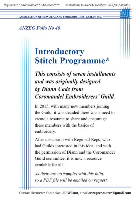 ANZEG Folios48: Introductory Stitch Programme