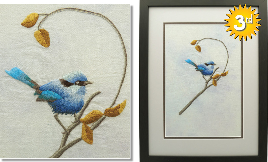 3rd: ROYAL BLUE WREN by Grace Coogan, age 16. South Taranaki Guild.